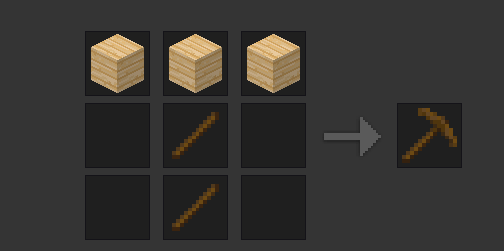 Crafting a pickaxe